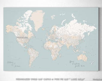 Detail world map etsy large high detail world map push pin canvas framed map large highly detailed world map push pin personalized map muted map149 038 gumiabroncs Images