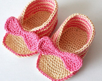 INSTANT DOWNLOAD - Knitting Pattern (PDF file)  Elegant Baby Sandals (sizes 0-3/3-6/6-9/9-12 months)