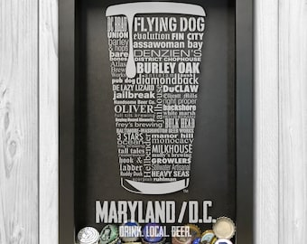 MARYLAND/DC Craft Beer Typography bottle cap Shadow Box, Beer cap holder, beer gift,  mens gift ideas, fathers day gift, gifts under 50