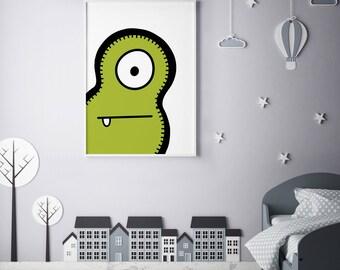 "Monster Poster Print Wall Art by BABUA – ""Moe"" | A4 A3"