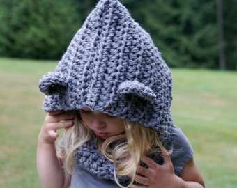 Hooded Bear Cowl -30 COLORS/neckwarmer/kids/baby/scarf/pullover/tan/cream/oatmeal/knit/stretchy/cozy/warm/winter