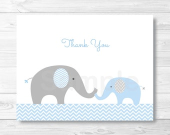 Blue Elephant Thank You Card / Elephant Baby Shower / Chevron Pattern / Blue & Grey / PRINTABLE Instant Download A228