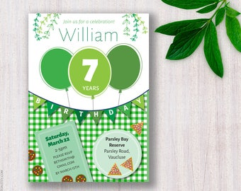 Park Birthday Invite. Outdoors party invitation Picnic Balloons invite Bunting flags invite Garden celebration Summer birthday party Spring