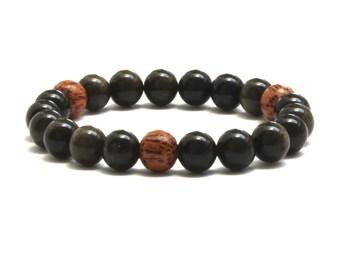 Obsidian Men Beaded Bracelet, Mindfulness Men's Inspirational Jewelry Gift for Him, Coconut Palm Wood Bracelet, Evil Eye Protection Bracelet
