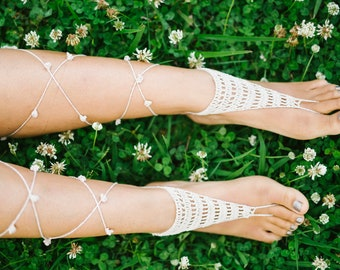 Stripes and Poms Barefoot Sandals PDF PATTERN ONLY