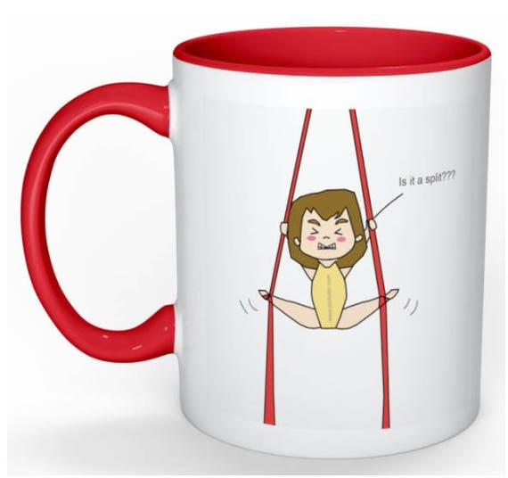 aerial silks mug, gift for women, unique coffee mug, coffee mug, aerial problems, circus problems, circus gift, circus mug, circus party