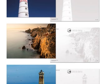 """5 cards postcards from Collection """"Brittany lighthouses"""". Large format A5 14.8 x 21 cm (6 x 8 in)"""
