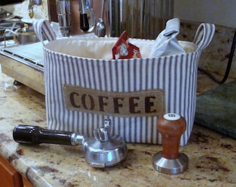 Ticking Fabric Coffee Basket with a Burlap Label - Large Size - Select Your Color