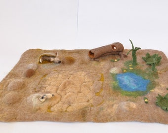 Desert Play Mat 3D Playmat Landscape Playscape  Play-mat Pretend Play Kid Child storytelling creative savanna safari zoo fantasy open ended