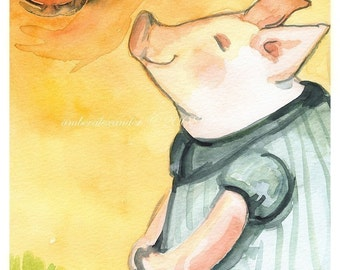 Happy Piglet in the Sun Archival Print, children, nursery, decor