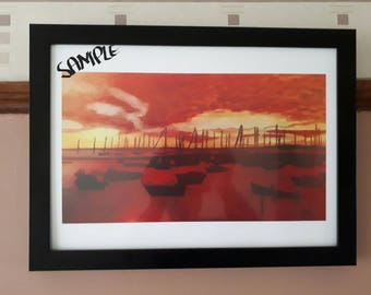 Framed A3 Caribbean Watercolour Print-Boats in the Harbour Wall Art Decor, Limited Edition