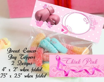 Breast Cancer Treat Toppers printable Breast Cancer treat bag toppers Breast Cancer treat bag toppers Breast Cancer Candy Bag Toppers