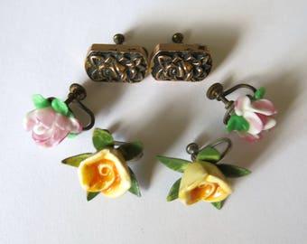 Lot of tree Vintage rose earrings