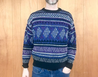 80s Geometric Sweater Vintage Pattern Retro Sweater Purple 80s Clothing ~ Large