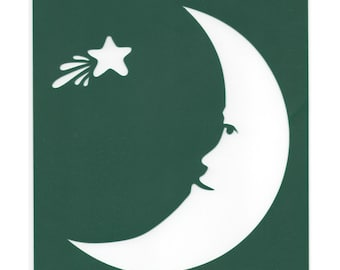 Stencil Moon and Shooting Star Green Plastic New