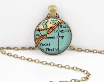 Ocean City New Jersey Vintage Map Pendant Necklace or Key Ring