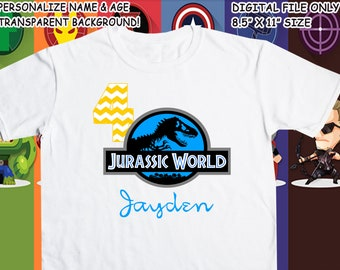 Jurassic World Printable Iron On Transfer - Custom Personalized T-Shirt Decal Design - Digital File - Personalize