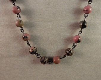 Rhodonite 18in-16in 6mm Beaded Necklace with Toggle Clasp