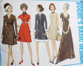 Vogue 2166 Basic Design Dress Vintage 60s Sewing Pattern - Size 14 - Bust 36