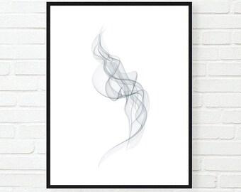 Grey smoke digital print / Smoke Printable Poster / Abstract Art / Abstract Digital Print/ Minimal Print