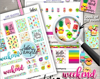 60%OFF - Summer Stickers, Printable Planner Stickers, Weekly Stickers, Planner Accessories, Life Quotes, Inspirational, Functional