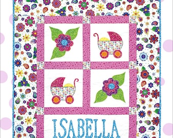 Personalized Baby Girl Quilt Pattern - Cool Cat Creations, applique and pieced quilt