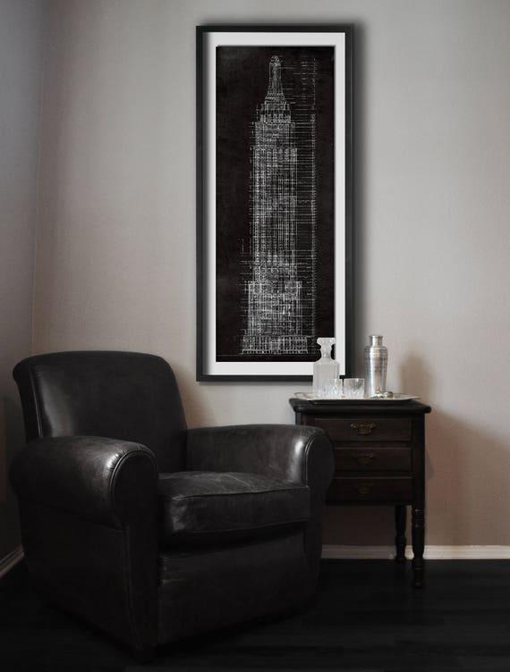 Empire state building blueprint vintage rustic new york city te gusta este artculo malvernweather Gallery