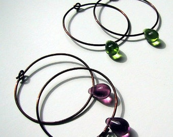 Copper hoops with plum olive or amber teardrop
