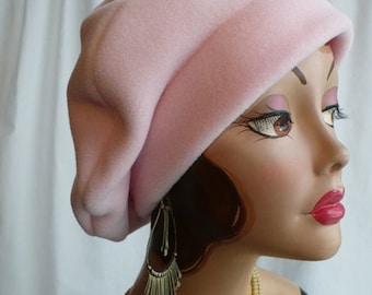 Soft Pink Polar Fleece Beret, Fleece Beret, for Men or Women