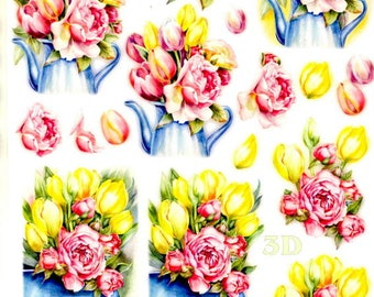 19 - 1 sheet of die cut images roses and Tulips