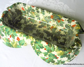 Basket Liner, Table Topper, Centerpiece, Bread Cloth, Christmas, Green Holly Leaves, Red Berries, Evergreens, Handmade Table Linens
