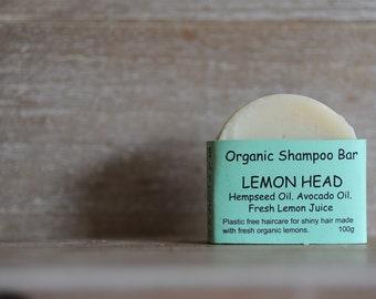LEMON HEAD - Shampoo Bar, Organic Shampoo, Natural Shampoo, Fresh Lemon, Hemp, Coconut, Avocado, Olive Oil Shampoo Bar