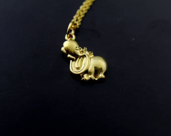 Hippo Necklace Gold Hippopotamus Charm Necklace Hippopotamus Animal Jewelry Stainless steel Hippo Charm Personalized Necklace Initial Charm