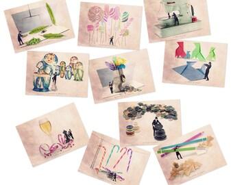 postcard set, fun postcards, sets of postcards, postcard collection, postcard, postcards, Art postcards, Postcards lot, French Postcard set