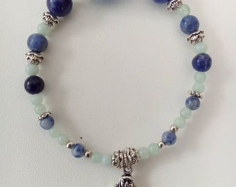 Beaded bracelet with Amazonite, Sodalite, agate and silver beads