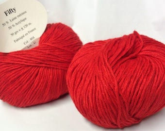 10 balls of wool 50% Merino/red 804 / made in FRANCE