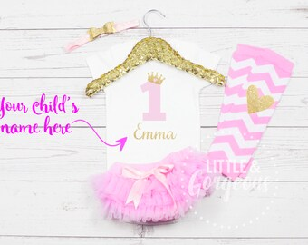 First Birthday Girl Outfit, Pink Gold 1st Birthday Outfit, First Birthday Onesie with Legwarmers, Personalized Girls Outfit, 2nd Birthday