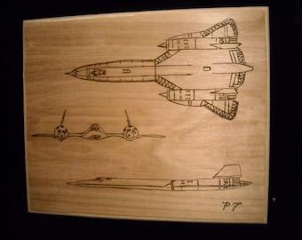 S R 71 Blackbird  Burnt Wood Art