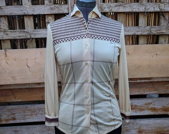 Vintage 1970s Rolina beige and brown long sleeve disco blouse