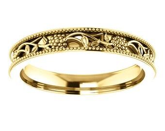 SALE! Any Color 14K Gold Floral Design Band