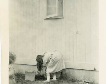 vintage photo Surreal Strange Long Hair Woman Bends Over from Back REar View