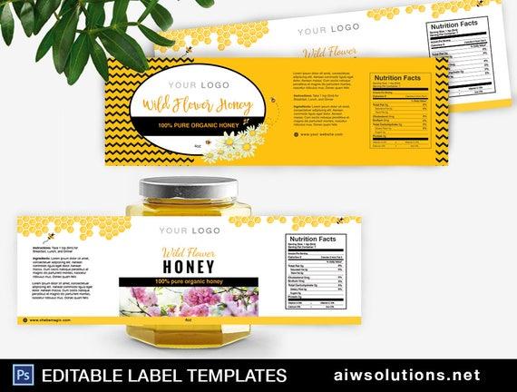 Honig-Label-Vorlage Honig-Verpackung