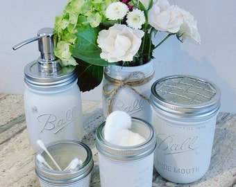 Mason jar bathroom set (set of 5), mason jar set; mason jar bathroom; toothbrush holder; soap dispenser; bathroom decor