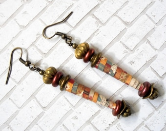 Earthtone Paper Beads and Brass Earrings (3166)