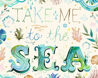 Take Me to the Sea - various sizes - STRETCHED CANVAS - Katie Daisy art