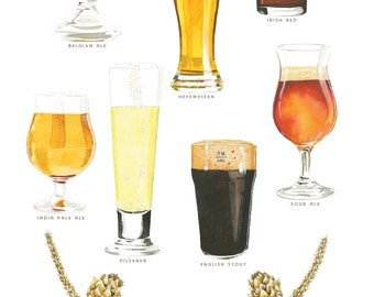 Craft Beer Watercolor Illustration Poster
