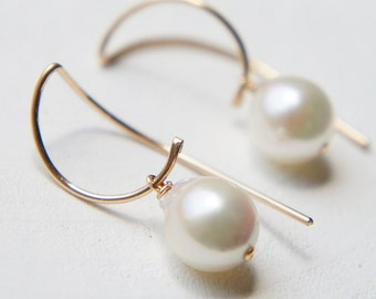 Japanese Akoya Pearl Earrings, June Birthstone Jewelry, Simple Earrings, White Baroque Pearl Earrings