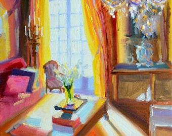 PARIS APARTMENT, Original painting, French Interior, yellow drapes, sunlit room
