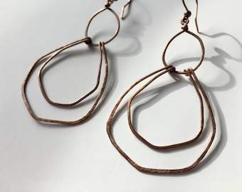 Abstract Copper Hoop Artsy Boho Earrings