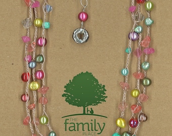 JewelryOs® Necklace-Light Pink Crochet-Giving Back-Vermont Craft-The Family Place-Gift For Mom-Sister-Girlfriend Gift-Not for Profit